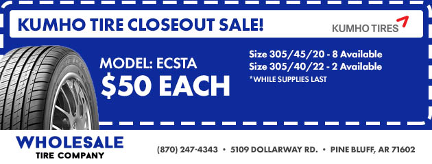 Kumho Tire Closeout Sale!