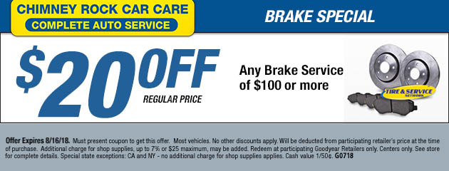 $20 Off Brake Service $100 or more