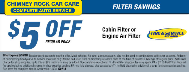 $5 Off Cabin Filter or Engine Air Filter