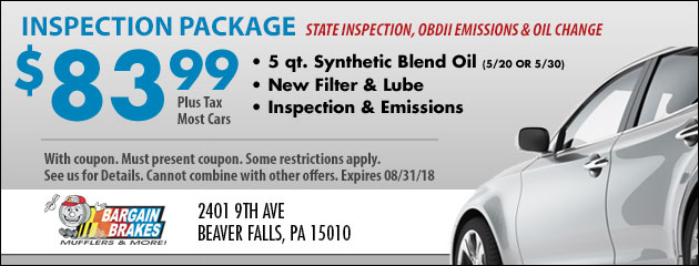 State Inspection and OBDII Emission Test Special