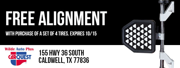 Free Alignment With the Purchase of a Set of 4 Tires