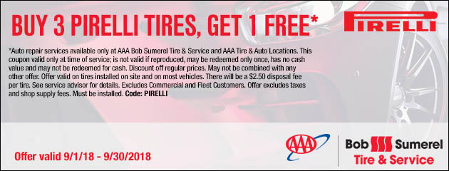 Buy 3 Pirelli Tires, Get One Free
