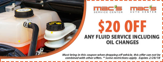 $20 off any Fluid Service Including Oil Changes