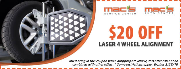 $20 off Laser 4 Wheel Alignment
