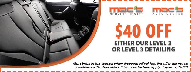 $40 off either our Level 2 or Level 3 Detailing