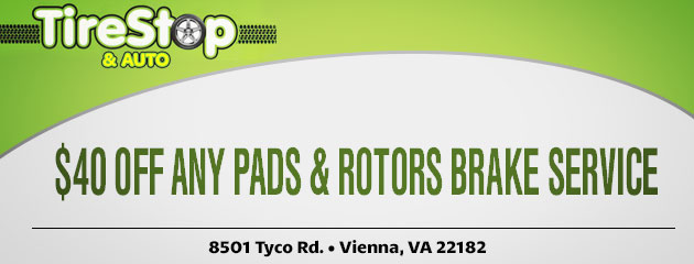 $40 Off Any Pads & Rotors Brake Service