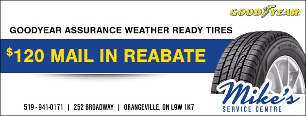 $120 mail in rebate on Goodyear Assurance Weather Ready tires