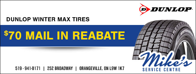 $70 mail in rebate on Dunlop Winter Max tires