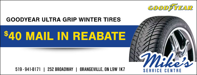 $40 mail in rebate on the Goodyear Ultra Grip Winter tires
