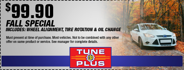 $99.90 Wheel Alignment, Tire Rotation & Oil Change