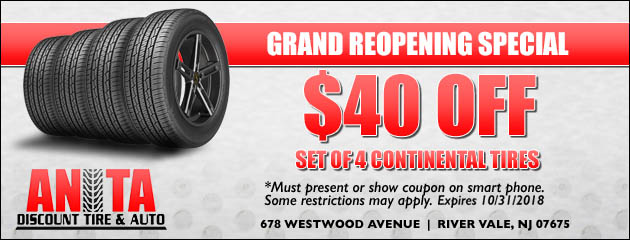 $40 OFF set of 4 Continental Tires