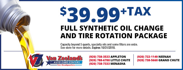 $399.99 Full Synthetic Oil Change and Tire Rotation Package