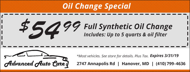Full Synthetic Oil Change Special