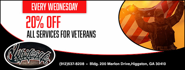 Every Wednesday 20% off all services for veterans