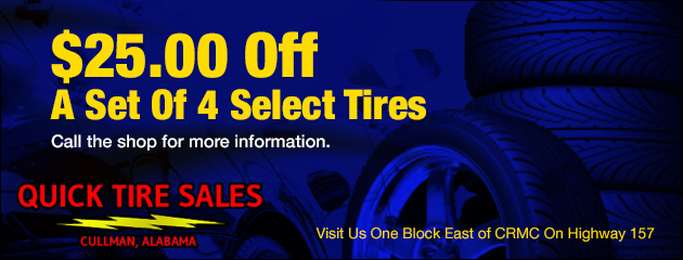 $25.00 Off Set of 4 Select Tires