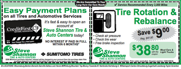 Easy Payment Plans & tire rotation and rebalancing