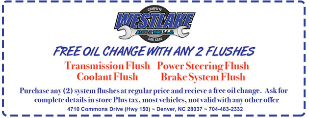 FREE Oil Change with any 2 flushes