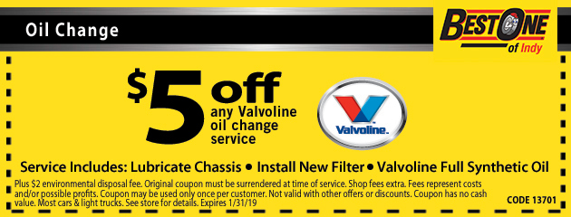 $5 Off any Valvoline Oil Change