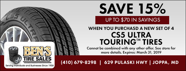 Save 15% on Cooper CS5 Ultra Touring Tires
