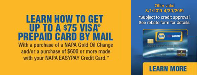 NAPA Gold Oil Change Rebate