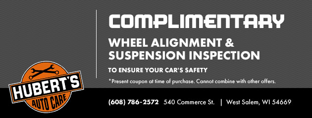 Complimentary wheel alignment & suspension inspection