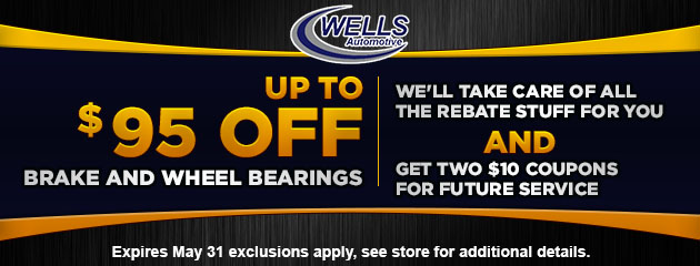 Up to $95 off brakes and wheel bearings