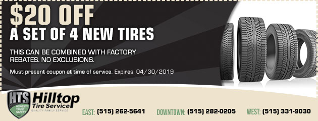 $20 Off a Set of 4 New Tires