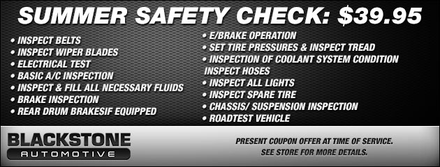 SUMMER SAFETY CHECK: $39.95