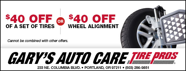 $40 Off Tires or Wheel Alignment
