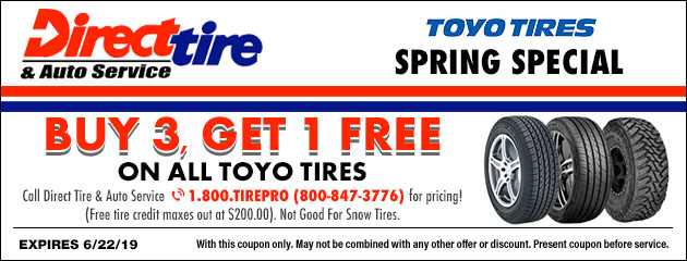 Buy 3, Get 1 FREE for Spring on ALL Toyo Tires