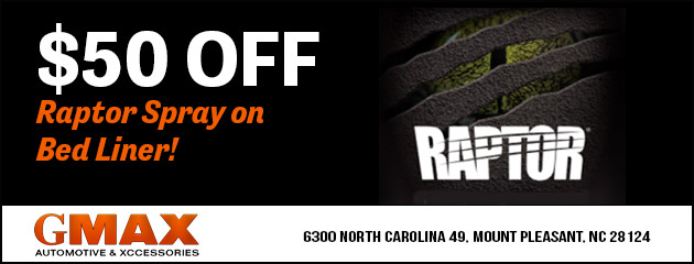 $50 Off Raptor Spray on Bed Liner!
