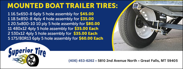 Mounted Boat Trailer Tires