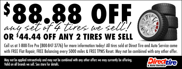 Save up to $88.88 off any set of tires we sell!