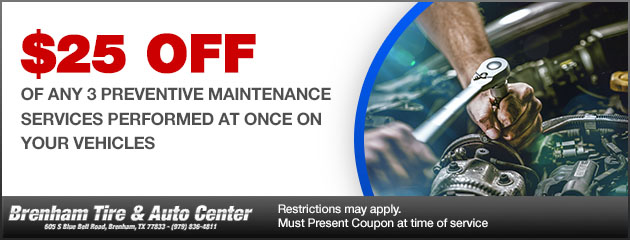 $25 OFF any 3 Preventive Maintenance Services