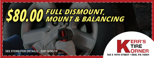 $80.00 Full Dismount, Mount and Balancing Coupon