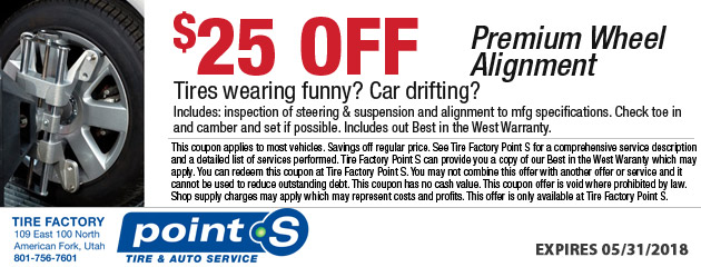 $25 off Premium Wheel Alignment