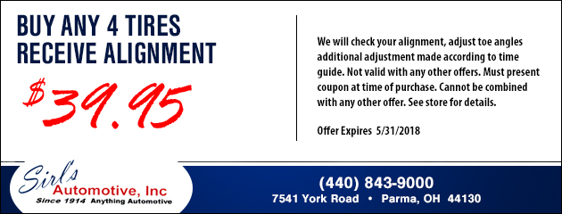 Buy Any 4 Tires and Receive an Alignment for $39.95