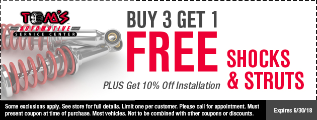 Buy three, get one free shock/strut special
