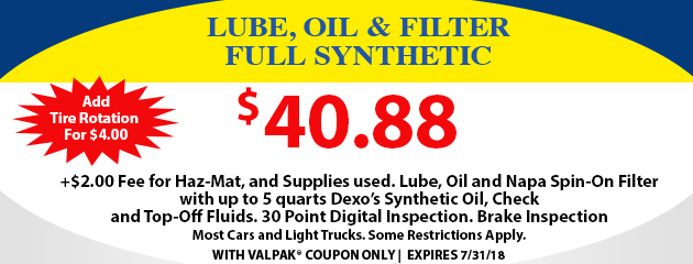 Lube, Oil and Filter Full Synthetic