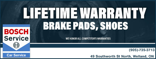Lifetime Warranty on Brake Pads, Shoes
