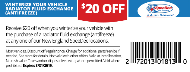 $20 Off Winterizing With Radiator Fluid Exchange