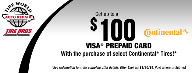 Get up to $100 Visa Prepaid Card with the purchase of select Continental Tires