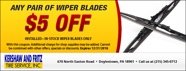 $5.00 off Any Pair of Wiper Blades