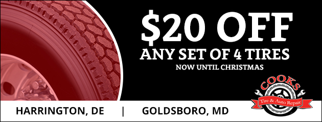 $20 off any new set of 4 tires now until Christmas