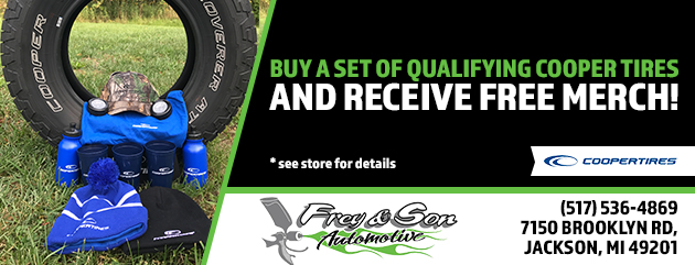 Buy a set of qualifying Cooper Tires and receive free merch