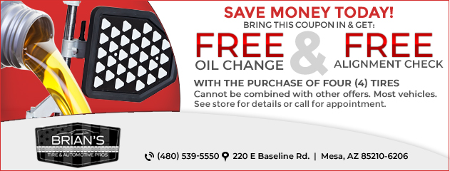 Free Oil Change & Alignment Check with the Purchase of 4 Tires