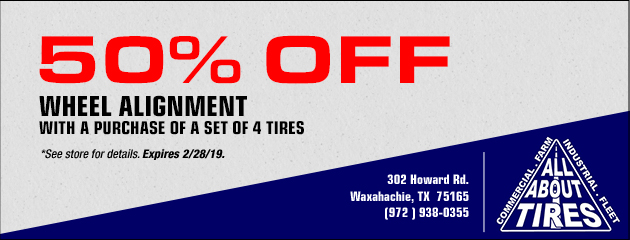 50% Off Wheel Alignment with a purchase of a set of 4 tires