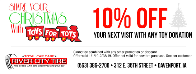 Save 10% Off your next visit with any toy donation
