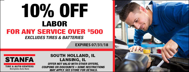 10% off labor For Any Auto Service Over $500
