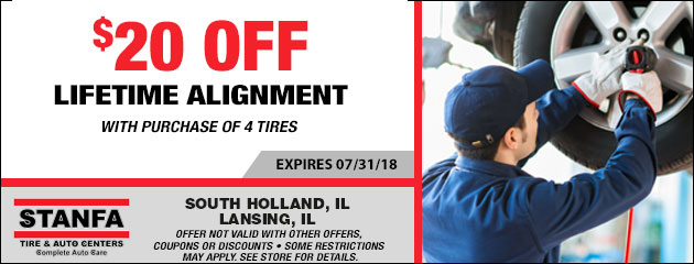 $20.00 Off Lifetime Alignment With the Purchase of 4 Tires